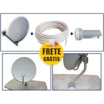 Kit Antena Parabólica 60cm Ku 20mt Cabo 2 Plugs Lnb 1x .