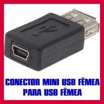 Adaptador Conector Conversor Mini Usb Fêmea Para Usb Fêmea