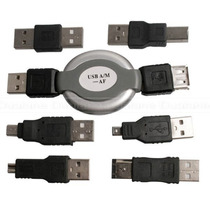 Kit Viagem Usb Firewire Cabo Retrátil 6 Adaptador Mini Micro