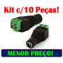Kit Pacote 10 Plug Conector P4 Femea P/ Cftv Camera Borne