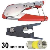 Kit Alicate Compressao Coaxial Decapador 30 Conectores Rg6