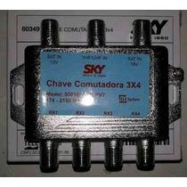 Chave Camutadora 3x4 1 Antena Liga 4 Receptores