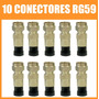 Kit De 10 Conectores F Macho De Compressão Para Cabo Rg59