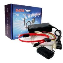 Cabo Adaptador Conversor Usb 2.0 Ide Sata + Fonte 3 Em 1 Hd