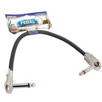 Cabo P/ Pedal Efeito Plug P10 + P10 25cm 90° Guitarra Baixo