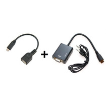 Adaptador Conversor Hdmi P/ Vga C/ Áudio +cabo Micro Usb Otg