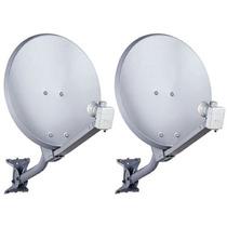 Kit 2 Antenas Banda Ku 60 Cm Completas + Cabos +lnbs Simples