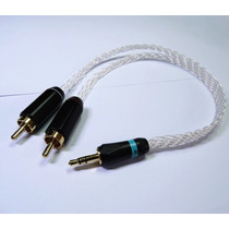 Silver Plated 3.5mm Stereo To 2 Rca Male Plugs Audio Cable A