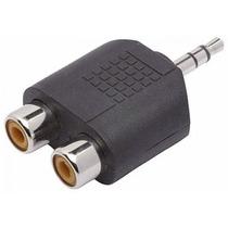Plug Adaptador 2 X Rca Femea X P2 3.5mm Macho Áudio Jack