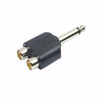Plug Adaptador 2 Rca Femea P10 Mono Audio Som Conector