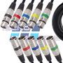 5 Cabos 3mt Plug Conector Xlr Canon Microfone Balanceado Dmx