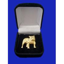 Bulldog Inglês - Botom E Pingente Em Prata E Folheado A Ouro