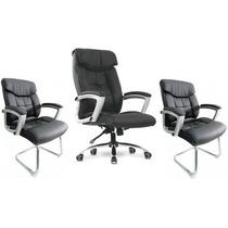 1 Cadeira Presidente 2 Cadeiras Fixas Preta C/ Nf