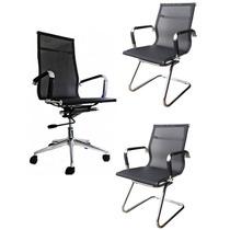 1 Cadeira Presidente + 2 Cadeiras Fixas Em Tela C/ Nf
