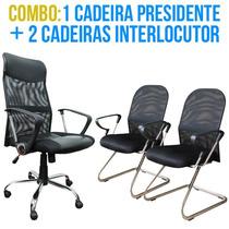 Cadeira Presidente + 2 Cadeiras Interlocutor Tela Mesh C/ Nf