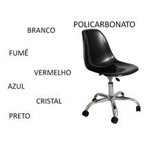 Cadeira Policarbonato Transparente Rodizio Charles Eames