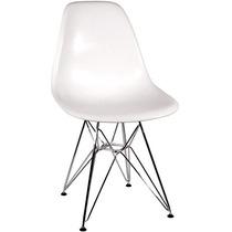 Conjunto 4 Cadeiras Charles Eames Eiffel Base Cromada Branca