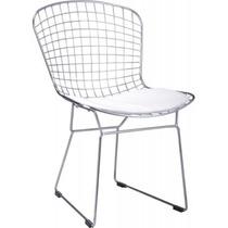 Cadeira Cozinha Bertoia Estrutura Cromada C/ Almofada Branca