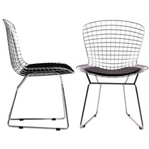Cadeira Bertoia Cromada Assento Preto Casa Decoração Design