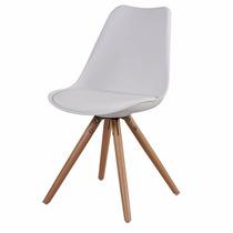 Cadeira Charles Eiffel Dkr Wood Branca - Base De Madeira