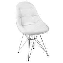 Cadeira Dkr Estofada Couro Botonê Branca - Base Inox