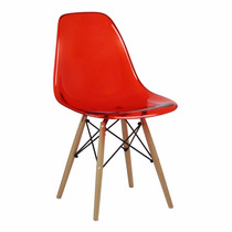 Cadeira Eiffel Charles Eames Acrílica Vermelha Base Madeira