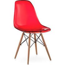 Cadeira Eiffel Policarbonato Vermelha Transparente Fd1021