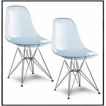 Kit Com 2 Cadeira Acrilico Eamens - Transparente