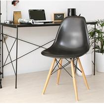 Cadeira Charles Eames Wood - Design - Preto Com Pé Madeira