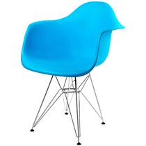 Cadeira Eames Dar Base Em Aço Inox Azul - Bbd318