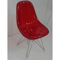 Cadeira Acrílica Charles Eames Dkr Torre Aço Cromada