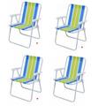Kit 04 Cadeiras De Praia Aço Alta + Suporte P/ Cadeiras Mor