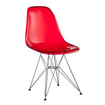 Cadeira Policarbonato Charles Eamens Cristal Base Cromada