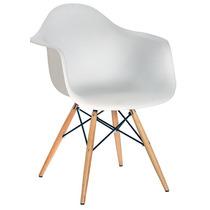 Cadeira Charles Eames Eiffel Com Braços - Base De Madeira