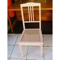 Cadeira Antiga-patinada Em Rosa-palhinha