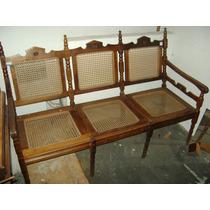 (only Wood) Namoradeira Palhinha Feito Imbuia Maciça Antiga