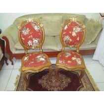 Cadeira Poltrona Medalhão Duplo Entalhada