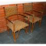 Par De Cadeira Antiga Com Braço Cana Da India E Palha.