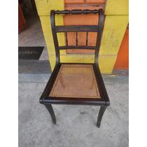Cadeira Em Madeira Escura, Assento Em Palhinha
