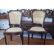 Cadeiras Antigas Jacarandá Maciço/palhinha Indiana Natural