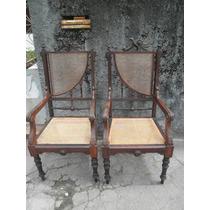 Par De Cadeiras De Braço Império Em Jacarandá E Palhinha