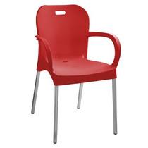 Cadeira Vermelha Com Braço E Pé De Alumínio