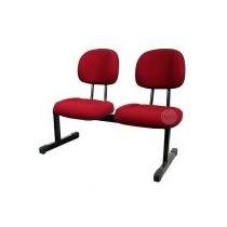 Cadeira Secretária Espera 2 Lugares, Fixa, Vermelha.