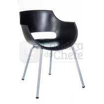 Cadeira Fixa Com 4 Pés Em Polipropileno Frida - Preta