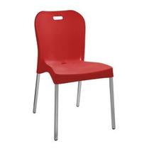 Cadeira Vermelha Sem Braço E Pé De Alumínio Produto Novo