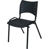 Cadeira Fixa 4 Pés Pvc Polipropileno Cor Preta Abba Moveis