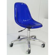 Cadeira Acrílica Preta Charles Eames Dkr Office