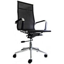 Cadeira Escritório Presidente Tela Mesh Cromada