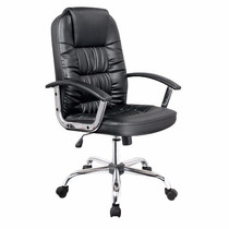 Cadeira De Computador Giratória Couro Pu Preta