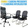 1 Cadeira Presidente E 2 Cadeiras Fixas Tela Mesh Office